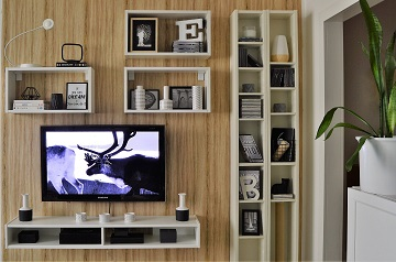 Living room remodelling tv wall wood and white
