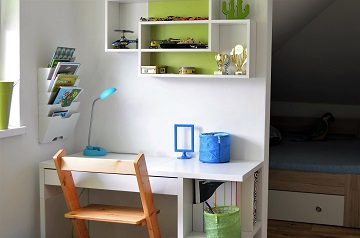 Boy`s room reconstruction white writing table