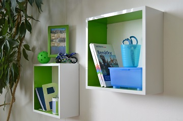 Boy`s room reconstruction white shelves on wall