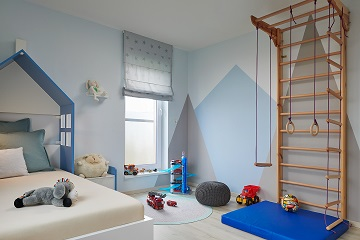 boy's room blue grey wall paint